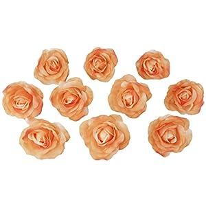 TheBridesBouquet.com 10 Coral Peach Rose Heads Silk Flower Wedding/Reception Table Decorations Bulk Silk Flowers (Large) 4