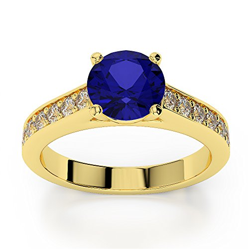 Or jaune 18 carats 1 CT G-H/VS sertie de diamants Saphir de coupe ronde et bague de fiançailles Agdr-1219