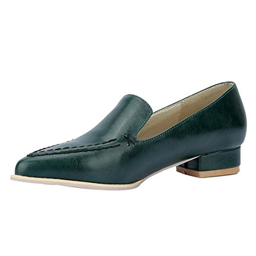 TAOFFEN Women Classical Block Low Heel Slip On Court Shoes Casual Loafers Shoes 464 Green cHfSQe2yd
