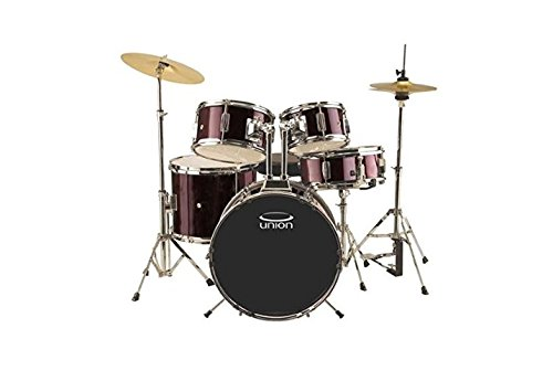 Union DBJ5052(WR) 5-Piece Junior Drum Set with Hardware, Cymbal and Throne - Wine Red