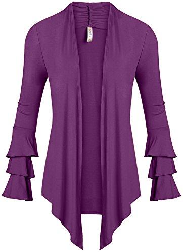 - Simlu Womens Open Front Cardigan Sweater Ruffle Long Sleeve Cardigan Reg and Plus Size - Made in USA (Size Large, Light Purple)