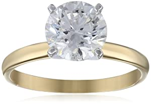 IGI Certified 18k Yellow Gold Classic Round-Cut Diamond Engagement Ring (2.0 carat, H-I Color, SI1-SI2 Clarity), Size 7