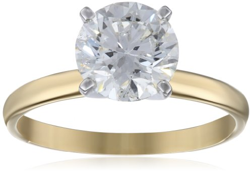 IGI Certified 18k Yellow Gold Classic Round-Cut Diamond Engagement Ring (2.0 carat, H-I Color, SI1-SI2 Clarity), Size 7 (I Carat Diamond Ring)
