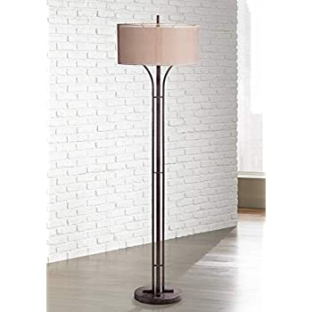 Tristan Modern Floor Lamp Bronze Metal Sheer Brown And