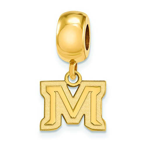 Montana State Extra Small (3/8 Inch) Dangle Bead Charm (Gold Plated) by LogoArt