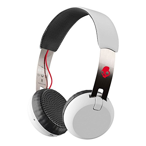 Skullcandy Grind Bluetooth Wireless On-Ear Headphones with Built-In Mic and Remote, 12-Hour Rechargeable Battery, Supreme Sound Audio, Plush Ear Pillows for Comfort, White by Skullcandy