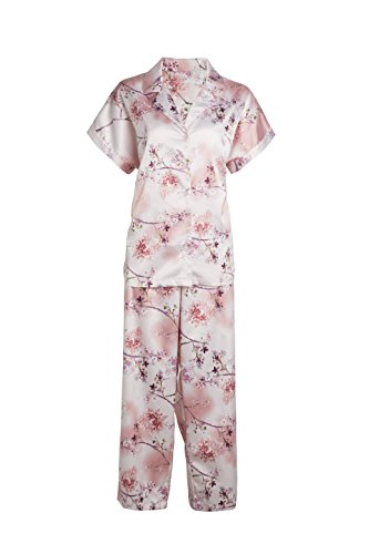 wear Short Sleeves, Front Open with Button Nightwear Floral Print Silk Pajama V Neck Pajamas Sets Homewear Pink (L) ()
