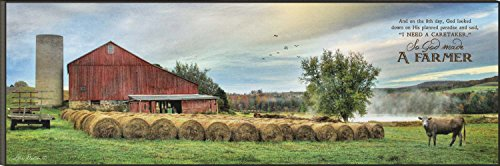 So God Made a Farmer Hay Bales on Farm 12 x 36 Wood Wall Art Sign Plaque