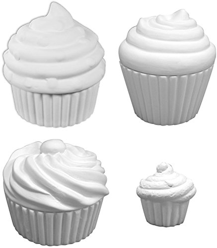 Paint Ceramic Bisque (Cupcake Box Bonanza - Set of 4 - Paint Your Own Ceramic Keepsake)