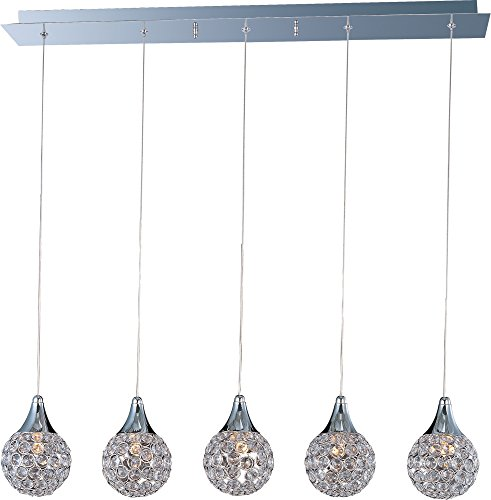 ET2 E24025-20PC Brilliant 5-Light Linear Pendant, Polished Chrome Finish, Crystal Glass, G9 Xenon Bulb, 2.4W Max., Dry Safety Rated, 2900K Color Temp., Low-Voltage Dimmable, Glass Shade Material, 5250 Rated Lumens
