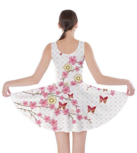 Cowcow Femmes Grue Fleurs De Cerisier De Style Japonais Fleurs Floral Robe Patineuse Sakura Fuji, Xs-5xl Fleur Blanche