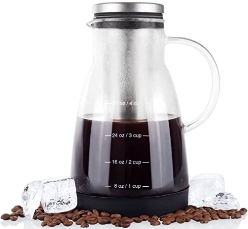 Bean Envy Cold Brew Coffee Maker - 32 oz - Premium Quality Glass - Perfect For Homemade Cold Brew and Iced Coffee - Includes Unique Non-Slip Silicone - 12 Base Cut