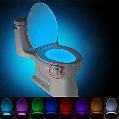 Motion Bowl Activated Toilet Bowl Night light LED sensor - The Toilet Light Bowl Only Activates in Darkness - Features 8 Changing Colors Mode - Battery Operated - Energy Savings