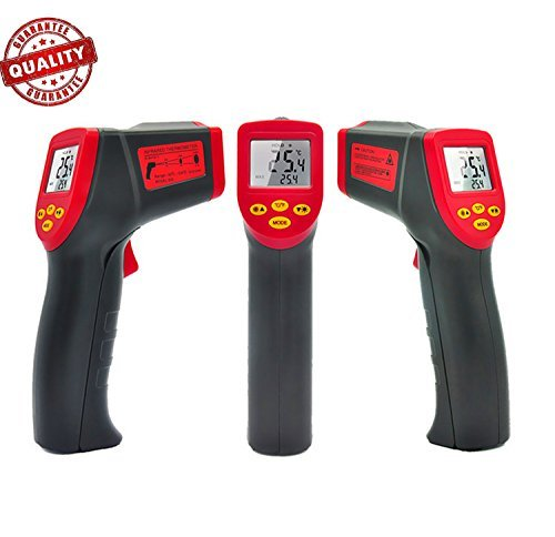 Temperature Gun Non-contact Digital Laser Infrared IR Thermometer-32℃~530℃,LCD Instant-read Handheld,Red&Black by Petcaree