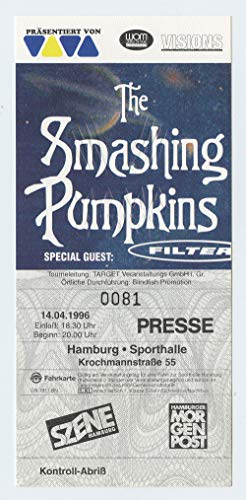 Smashing Pumpkins 1996 Apr 14 Hamburg Germany Unused Ticket