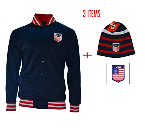 (ICON Us Soccer USA Jacket Bottom and Beanie Reversible Official Licensed United States Sport (Navy, L))