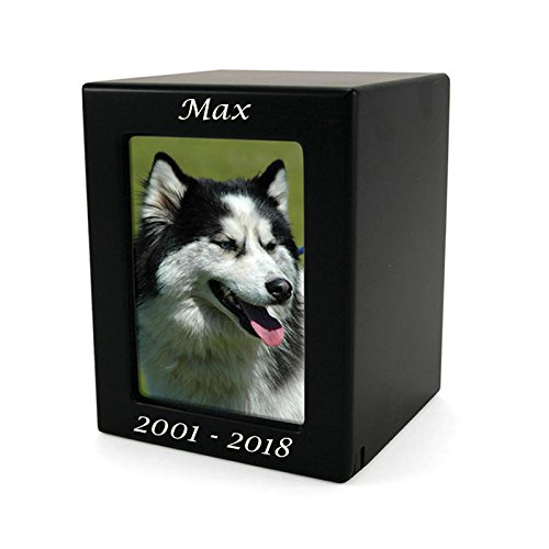 OneWorld Memorials Photo Frame Wood Funeral Urn for Cat, Dog - Small - Holds Up to 40 Cubic Inches of Ashes - Modern Black Pet Cremation Urn for Ashes - Engraving Sold Separately by OneWorld Memorials (Image #1)