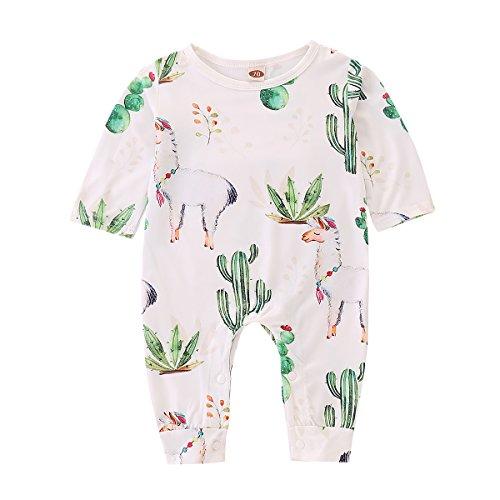 Probaby Toddler Baby Cactus Clothes Long Sleeve Romper Llama Print Bodysuit Baby Onesise (0-6 Months, Bodysuit)