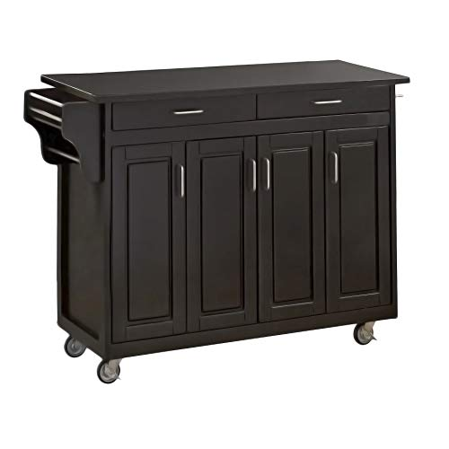Create-a-Cart Black 4 Door Cabinet Kitchen Cart with Granite Top by Home Styles (Shabby Indonesia Chic Furniture)