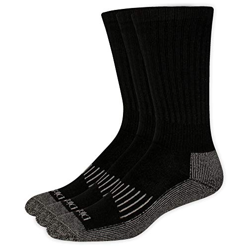 (Dickies Men's Big and Tall 3 Pack Heavyweight Cushion Compression Work Crew Socks, Black, Shoe Size 12-15 Size 13-15)
