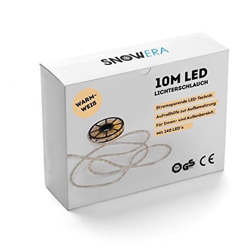 SnowEra LED Lichtschlauch 10 m mit 240 LED´s - für innen und außen (Warmweiß) - die perfekte Weihnachtsbeleuchtung