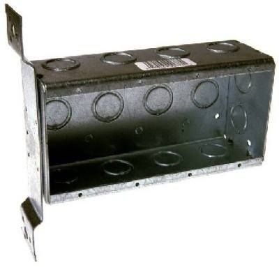 Raco 687 4 Gang 2-1/2 Deep Switch Box, Welded with 1/2 Setback Side Bracket, (12) Concentric 1/2 & 3/4 Knockouts by Raco