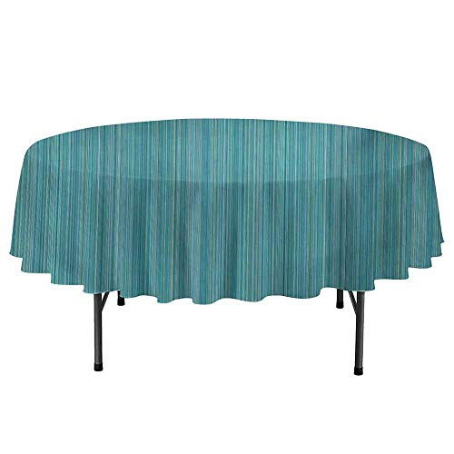 Curioly Teal Washable Round Tablecloth Vertical Stripes Lines Ethnic Dress Fabric Patterns Contemporary Design Illustration Dinner Picnic Home Decor D47 Inch Blue Green