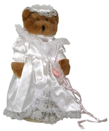 Bride Plush Teddy Bear 12 Inches Stuffed Animal with White Satin Wedding Dress and Lace Decals. from JOINER