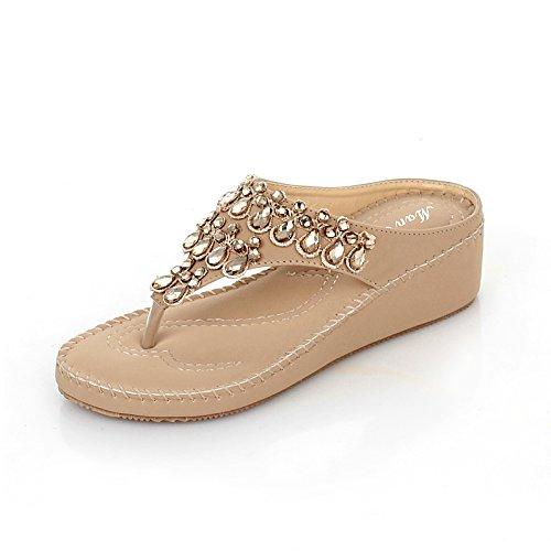 KPHY-Die neue Sommer Wasser bohren bohren bohren Mädchen coole Hausschuhe Sandalen Hang mit Dicken stilvolle Mädchen stilvolle Seaside Beach Schuhe 36 Beige 6d6476