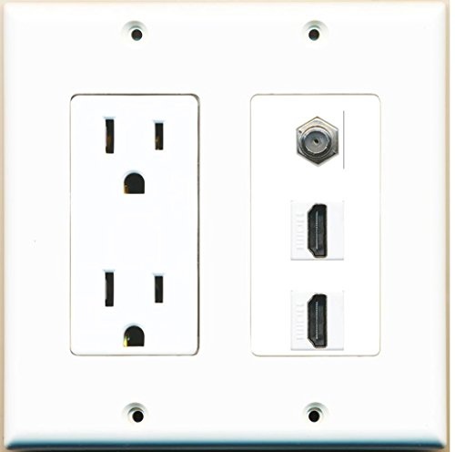 RiteAV - 15 Amp Power Outlet 2 Port HDMI 1 Port Coax Decorative Wall Plate - White