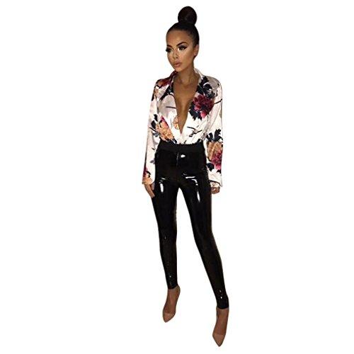 Price comparison product image Fheaven Women's V Neck Floral Print Long Sleeve Blouse Bodysuit Tuxedo Wrap Over Satin Jumpsuit (s, White)