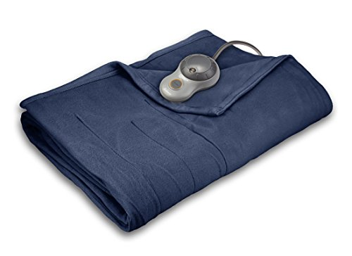 Sunbeam Quilted Fleece Heated Blanket with EasySet Pro Controller, Full, Newport Blue Controller Heated Electric Full Blanket