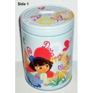 Dora the Explorer Butterflies Round Tin Bank