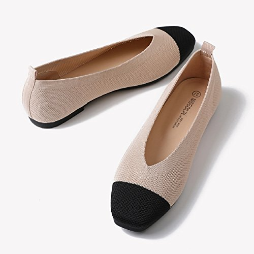 Comfortable Shoes Soft amp; Round Slip On Casual Ballet Design Toe Walking apricot Women for Knitted Flats qIzYa
