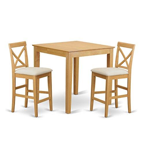 East West Furniture PUBS3-OAK-C 3-Piece Gathering Table Set, Oak Finish (Top Oak Pub Table Veneer)