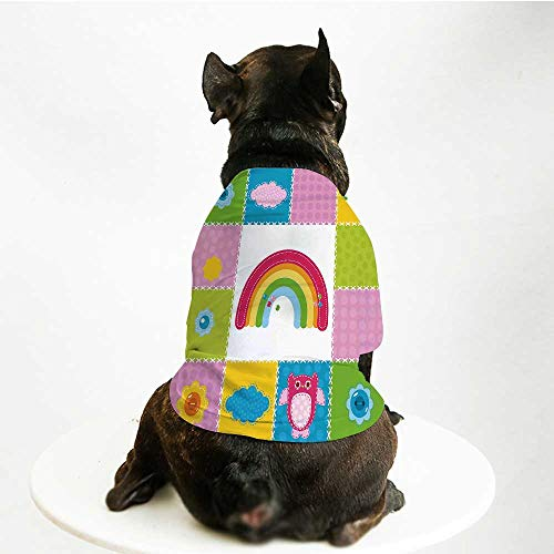 YOLIYANA Nursery Custom Pet Suit,Squares Stitched Together Sewing Themed Cute Artwork Rainbow Sun Clouds Nature Decorative for Cats and Dogs,M