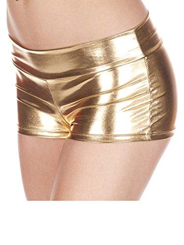 Rave Booty Shorts Mini Hot Pants Metallic Wet Look,Gold,One Size Fits XS-L (Mini Booty Shorts Women)