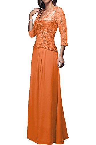 A Lang Dunkel Rot Brautmutterkleider Charmant Ballkleider Chiffon Rock Orange 2017 Langarm Damen Neu Abendkleider Linie wqIS4BPv