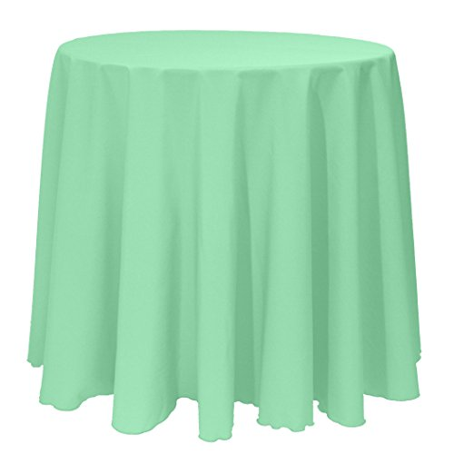 Ultimate Textile (5 Pack) 108-Inch Round Polyester Linen Tablecloth - for Wedding, Restaurant or Banquet use, Mint Light Green by Ultimate Textile