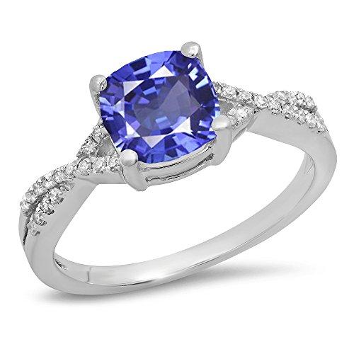 14K White Gold 7 MM Cushion Tanzanite & Round Diamond Ladies Swirl Engagement Ring (Size 9) (Ring Jewelry Tanzanite Gold White)