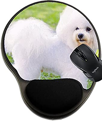 MSD Mousepad wrist protected Mouse Pads/Mat with wrist support design 22996816 ll A small beautiful and adorable white fluffy bichon frise dog standing on the lawn