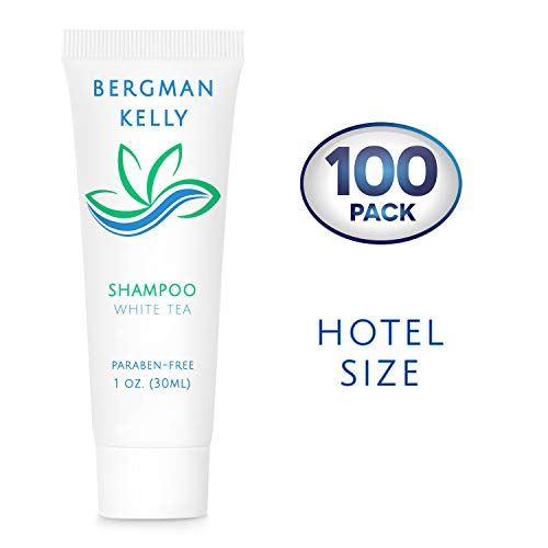 BERGMAN KELLY Travel Size Hotel Shampoo (1 Fl Oz, 100 PK, White Tea), Delight Your Guests with Revitalizing and Refreshing Shampoo for Guest Hospitality, Mini & Small Size Luxury Shampoo in Bulk