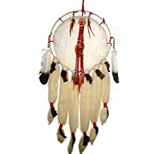 "Hand Crafted Indian Large 14""/35"" Rabbit Wool Fur Mandella Mandela Dream Catcher Aztec Native ~ Red Beads Leather"