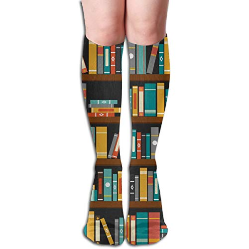 Socks Vector of Library Book Shelf Vintage Womens Stocking Gift Sock Clearance for Girls