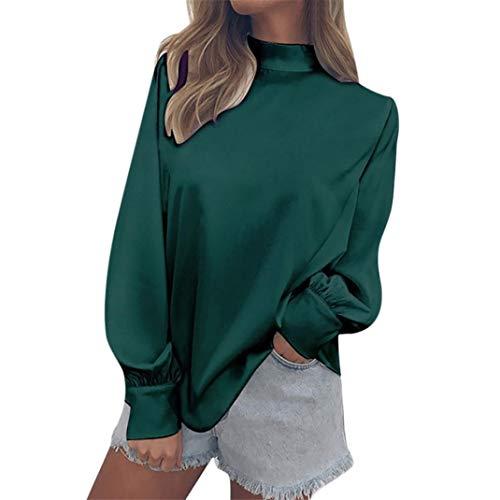 Chemisier Blouse Roul Womens Lanterne T Vert T T Mode Shirt Shirt Shirt Col Mousseline Femme Tops Dames Verte Bureau Femme Solide 55OrZwx