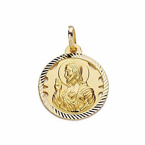 Médaille pendentif 18k 18mm en or Coeur de Jésus. ajouré clôture sculpté [AA2495]