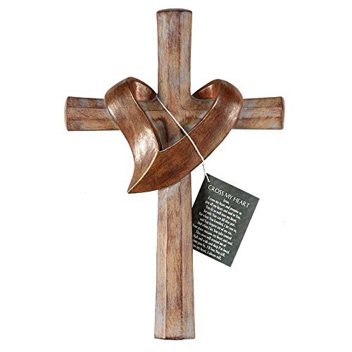 Cross With Heart Sash Distressed Patina Bronze Tone 6 x 11 Resin Stone Wall Sign Plaque]()