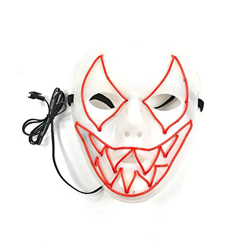 LED Halloween Mask Halloween Scary Cosplay Light up Mask for Festival Parties(red 18.517.5CM/Power Switch Button) ()