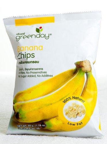 Greenday Vacuum-fried Banana, Banana Chips 100% Natural, Low Fat, Healthy Snack 50g.