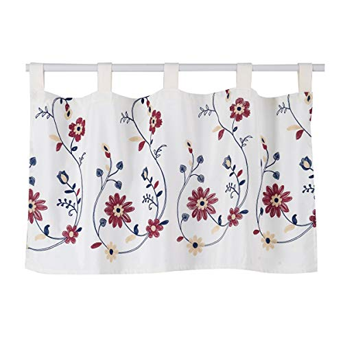 HomeyHo Semi Blackout Tab Top Embroidered Kitchen Valances for Windows Floral Window Valance for Bedroom Living Room 47 X 15 Inch Length Burgundy Flower